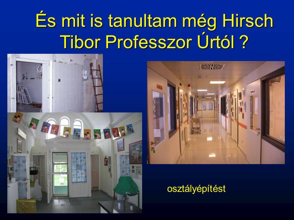 osztályépítést És mit is tanultam még Hirsch Tibor Professzor Úrtól ?