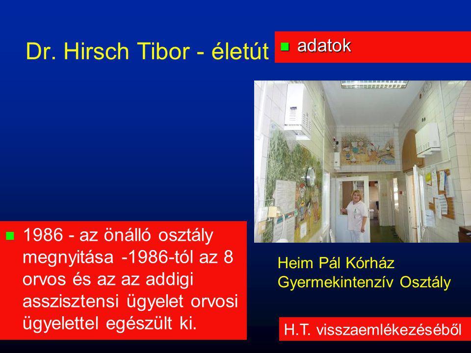 n adatok Dr. Hirsch Tibor - életút H.T. visszaemlékezéséből Heim Pál Kórház Gyermekintenzív Osztály  1986 - az önálló osztály megnyitása -1986-tól az