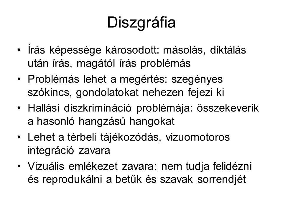 Diszgráfia •Írás képessége károsodott: másolás, diktálás után írás, magától írás problémás •Problémás lehet a megértés: szegényes szókincs, gondolatok