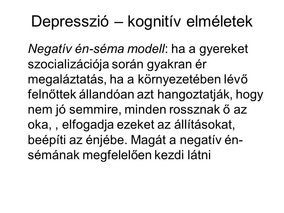 Depresszió – kognitív elméletek Negatív én-séma modell: ha a gyereket szocializációja során gyakran ér megaláztatás, ha a környezetében lévő felnőttek