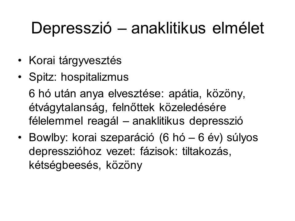 Depresszió – anaklitikus elmélet •Korai tárgyvesztés •Spitz: hospitalizmus 6 hó után anya elvesztése: apátia, közöny, étvágytalanság, felnőttek közele