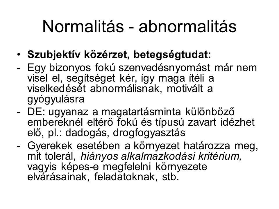 Pszichopatológiai kritériumok •Deviancia •Distressz (hiányozhat is) •Diszfunkcionalitás (felborul a mindennapi élet) •Veszélyeztetés (ön- és közveszélyes viselkedés)
