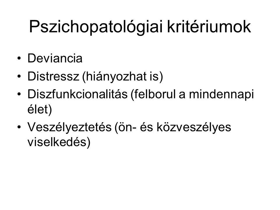 Pszichopatológiai kritériumok •Deviancia •Distressz (hiányozhat is) •Diszfunkcionalitás (felborul a mindennapi élet) •Veszélyeztetés (ön- és közveszél