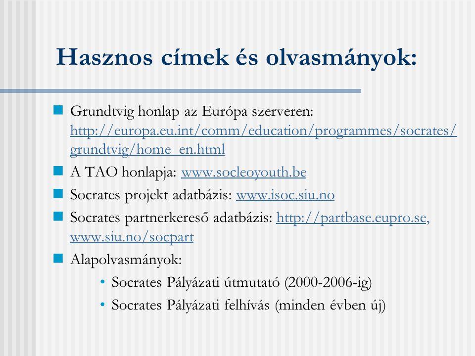 Beadási határidők  Grundtvig 3 - Felnőttoktatói mobilitás Folyamatos (bírálat minden hónap első munkanapján)  Grundtvig 2 - Tanulási kapcsolat 2006.