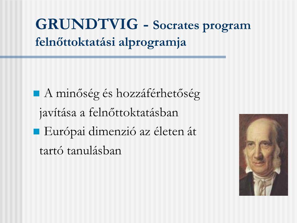 Hasznos címek és olvasmányok:  Grundtvig honlap az Európa szerveren: http://europa.eu.int/comm/education/programmes/socrates/ grundtvig/home_en.html http://europa.eu.int/comm/education/programmes/socrates/ grundtvig/home_en.html  A TAO honlapja: www.socleoyouth.bewww.socleoyouth.be  Socrates projekt adatbázis: www.isoc.siu.nowww.isoc.siu.no  Socrates partnerkereső adatbázis: http://partbase.eupro.se, www.siu.no/socparthttp://partbase.eupro.se  Alapolvasmányok: •Socrates Pályázati útmutató (2000-2006-ig) •Socrates Pályázati felhívás (minden évben új)