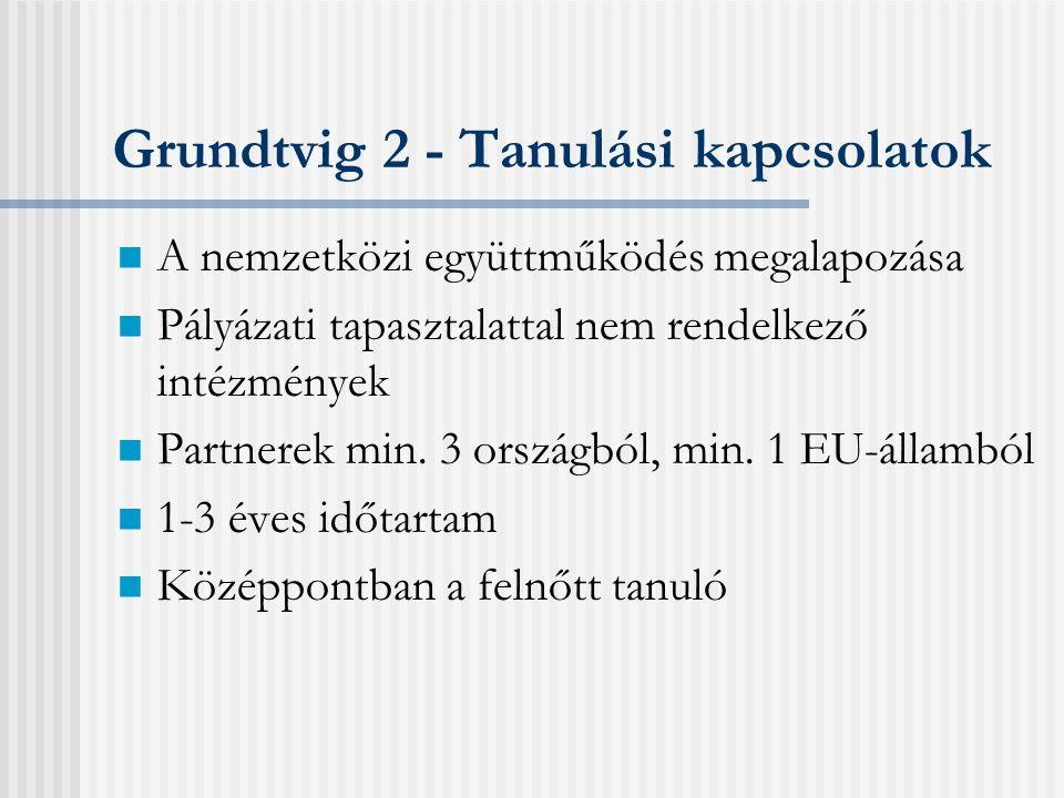 Pályázati típusok Centralizált pályázatok: • Együttműködési projekt (Grundtvig 1.) • Hálózat (Grundtvig 4.) Decentralizált pályázatok: • Felnőttoktatói mobilitás (Grundtvig 3.) • Tanulási kapcsolat (Grundtvig 2.)