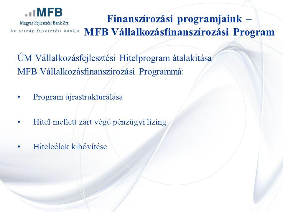 ÚM Vállalkozásfejlesztési Hitelprogram átalakítása MFB Vállalkozásfinanszírozási Programmá: •Program újrastrukturálása •Hitel mellett zárt végű pénzüg