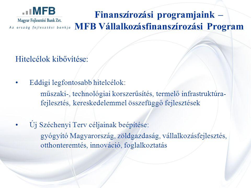 Hitelcélok kibővítése: •Eddigi legfontosabb hitelcélok: műszaki-, technológiai korszerűsítés, termelő infrastruktúra- fejlesztés, kereskedelemmel összefüggő fejlesztések •Új Széchenyi Terv céljainak beépítése: gyógyító Magyarország, zöldgazdaság, vállalkozásfejlesztés, otthonteremtés, innováció, foglalkoztatás Finanszírozási programjaink – MFB Vállalkozásfinanszírozási Program