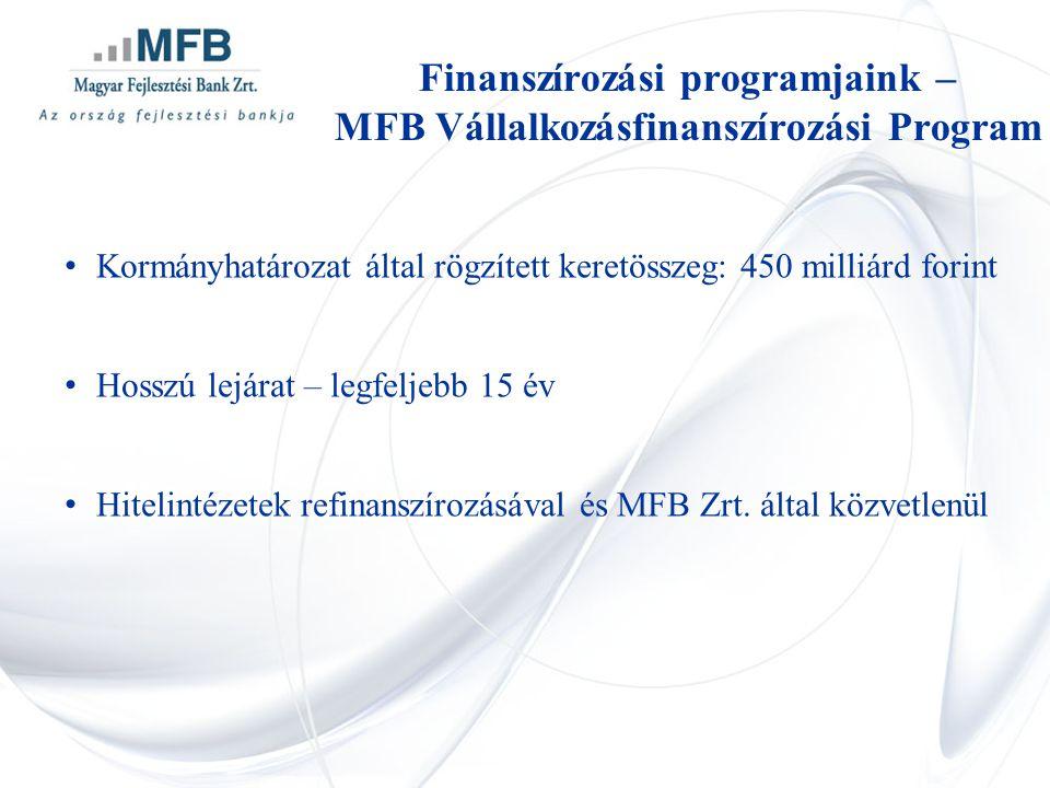 • Kormányhatározat által rögzített keretösszeg: 450 milliárd forint • Hosszú lejárat – legfeljebb 15 év • Hitelintézetek refinanszírozásával és MFB Zr