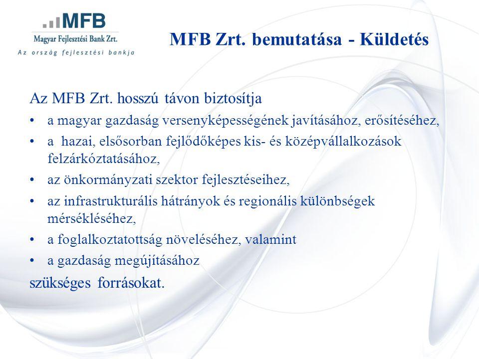 Az MFB Zrt. hosszú távon biztosítja •a magyar gazdaság versenyképességének javításához, erősítéséhez, •a hazai, elsősorban fejlődőképes kis- és középv