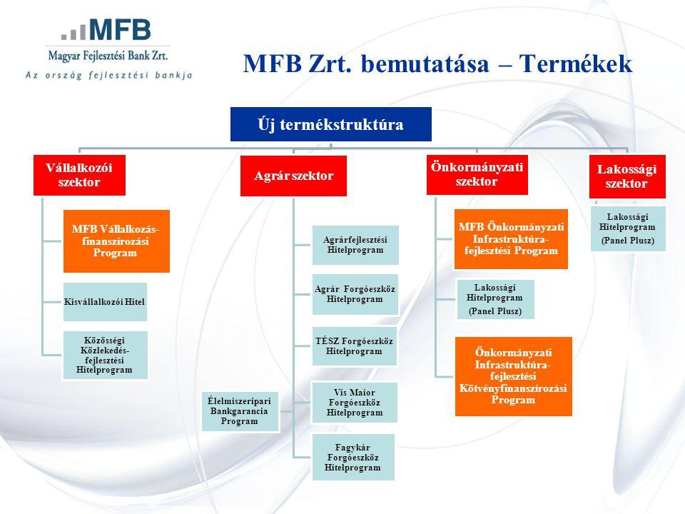Új termékstruktúra Vállalkozói szektor MFB Vállalkozás- finanszírozási Program Kisvállalkozói Hitel Közösségi Közlekedés- fejlesztési Hitelprogram Agrár szektor Agrárfejlesztési Hitelprogram Agrár Forgóeszköz Hitelprogram TÉSZ Forgóeszköz Hitelprogram Vis Maior Forgóeszköz Hitelprogram Fagykár Forgóeszköz Hitelprogram Élelmiszeripari Bankgarancia Program Önkormányzati szektor MFB Önkormányzati Infrastruktúra- fejlesztési Program Önkormányzati Infrastruktúra- fejlesztési Kötvényfinanszírozási Program Lakossági Hitelprogram (Panel Plusz) Lakossági szektor Lakossági Hitelprogram (Panel Plusz) MFB Zrt.