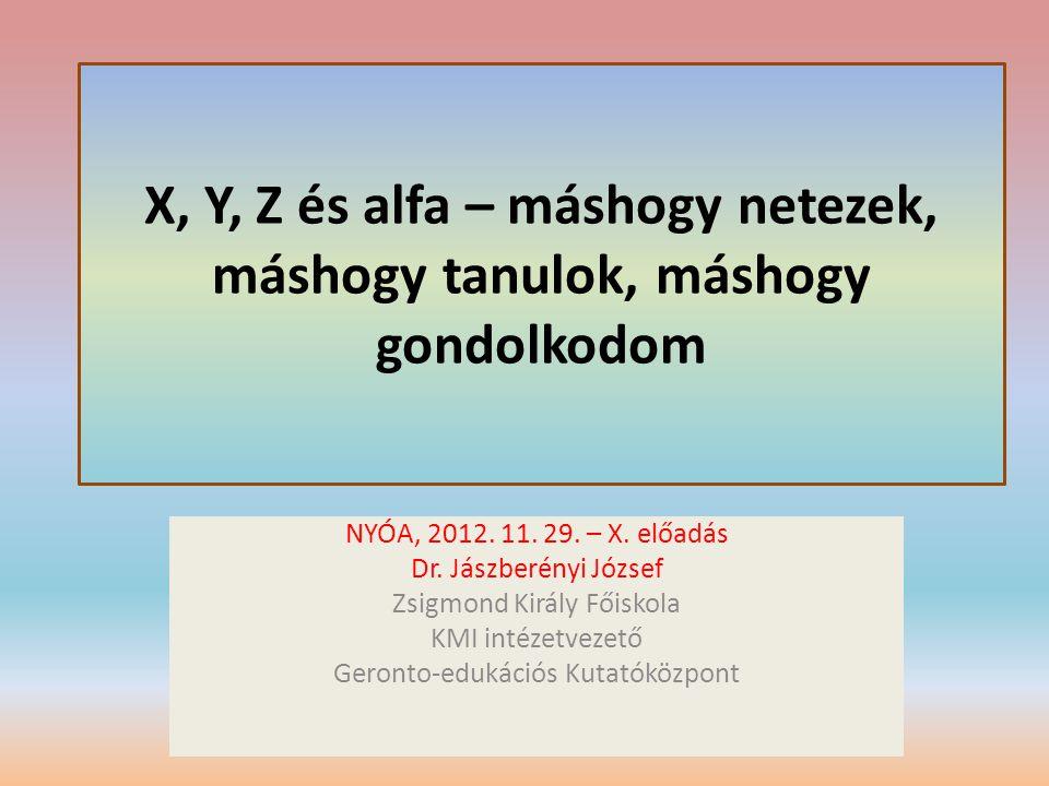 X, Y, Z és alfa – máshogy netezek, máshogy tanulok, máshogy gondolkodom NYÓA, 2012. 11. 29. – X. előadás Dr. Jászberényi József Zsigmond Király Főisko