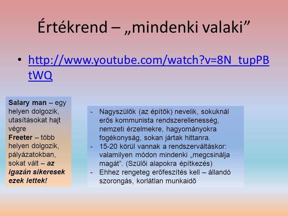 """Értékrend – """"mindenki valaki"""" • http://www.youtube.com/watch?v=8N_tupPB tWQ http://www.youtube.com/watch?v=8N_tupPB tWQ -Nagyszülők (az építők) neveli"""