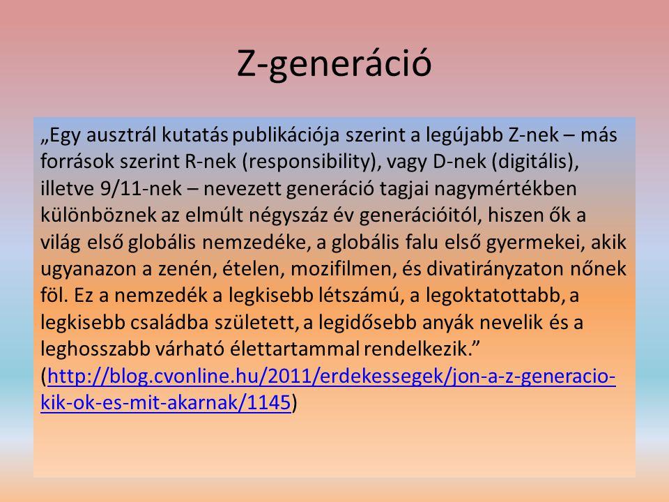 """Z-generáció """"Egy ausztrál kutatás publikációja szerint a legújabb Z-nek – más források szerint R-nek (responsibility), vagy D-nek (digitális), illetve"""
