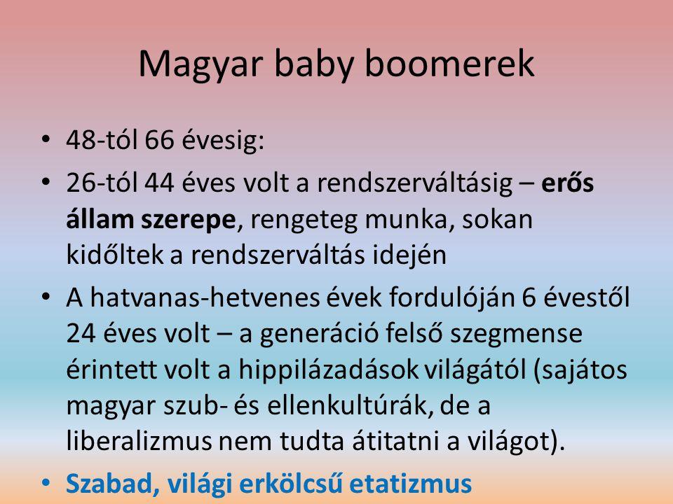 Magyar baby boomerek • 48-tól 66 évesig: • 26-tól 44 éves volt a rendszerváltásig – erős állam szerepe, rengeteg munka, sokan kidőltek a rendszerváltá