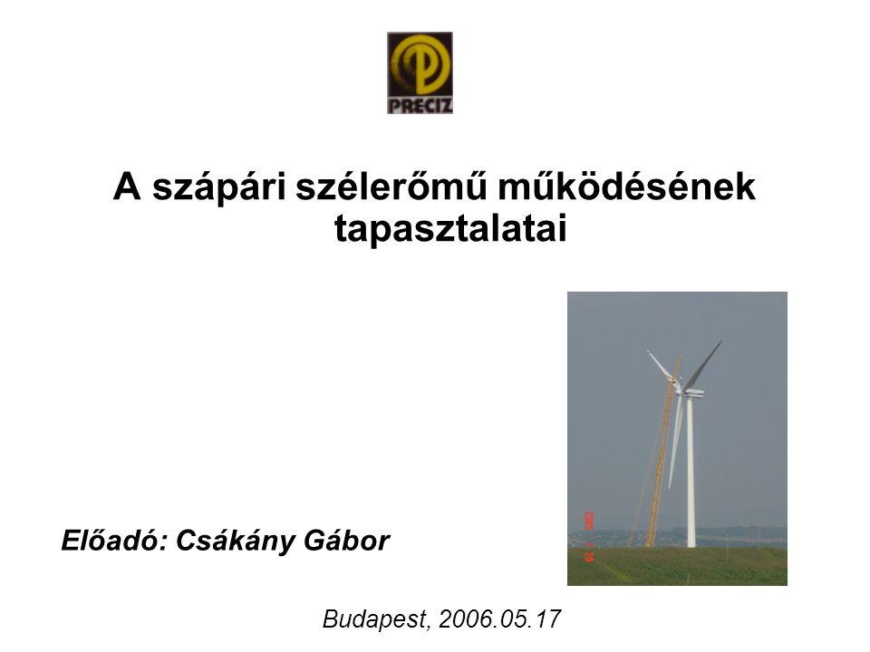 A szápári szélerőmű működésének tapasztalatai Előadó: Csákány Gábor Budapest, 2006.05.17