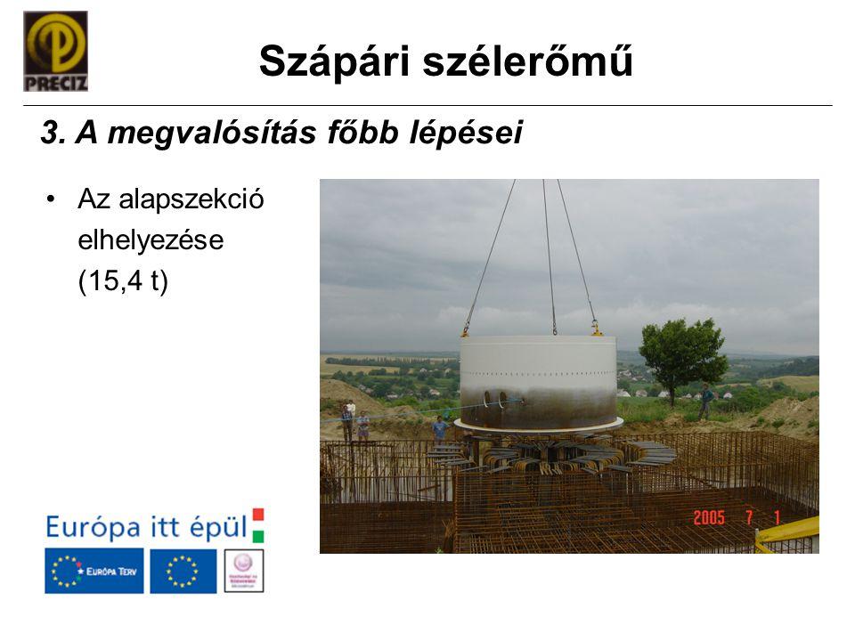 Szápári szélerőmű •Az alapszekció elhelyezése (15,4 t) 3. A megvalósítás főbb lépései