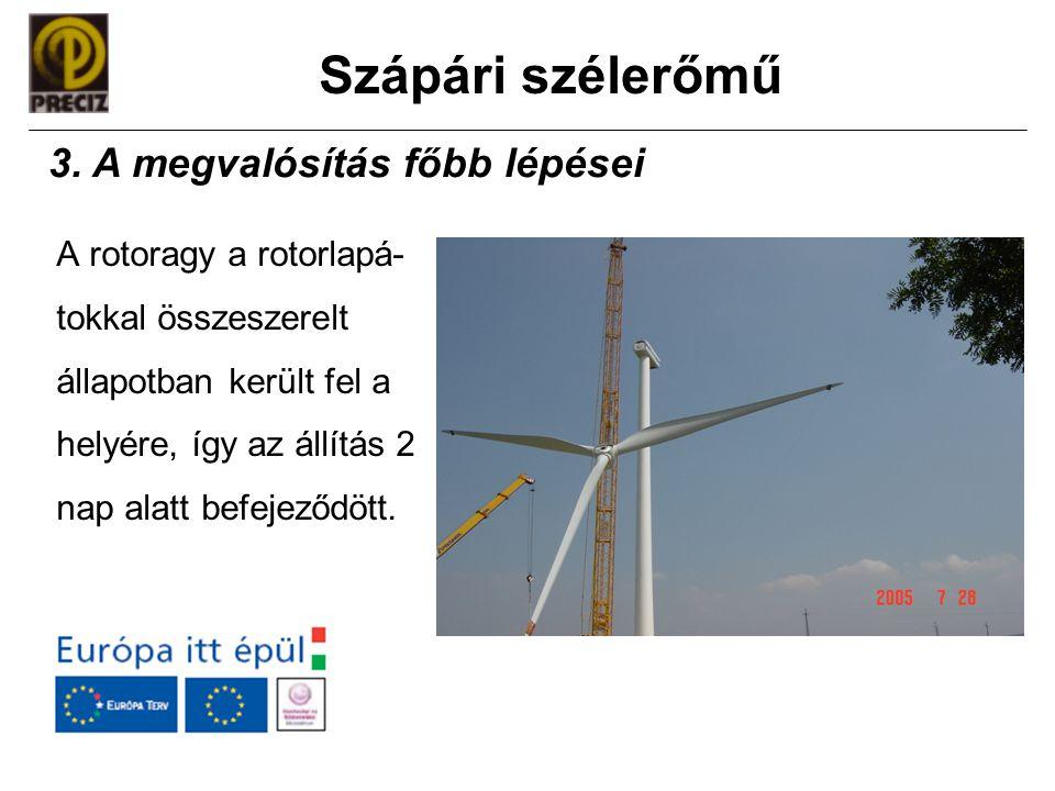 Szápári szélerőmű A rotoragy a rotorlapá- tokkal összeszerelt állapotban került fel a helyére, így az állítás 2 nap alatt befejeződött. 3. A megvalósí