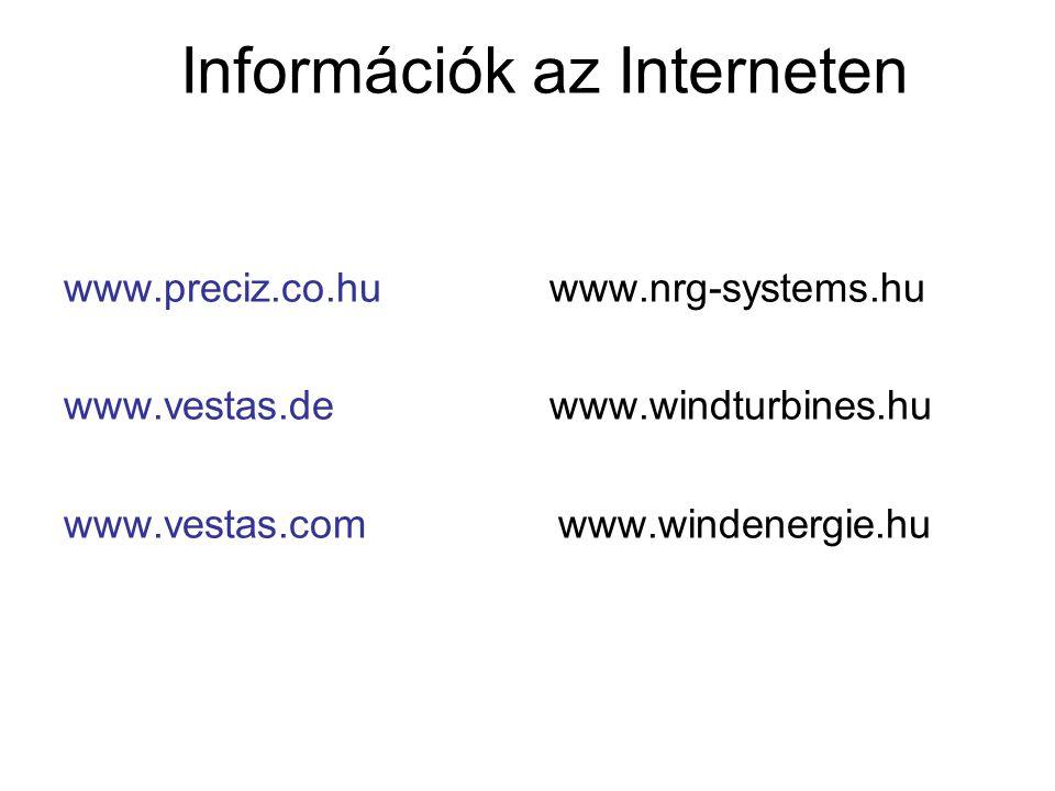 Információk az Interneten www.preciz.co.hu www.nrg-systems.hu www.vestas.de www.windturbines.hu www.vestas.com www.windenergie.hu
