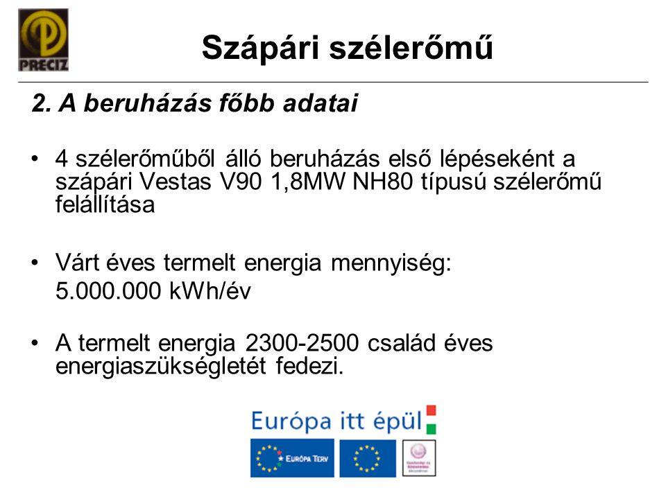 Szápári szélerőmű •4 szélerőműből álló beruházás első lépéseként a szápári Vestas V90 1,8MW NH80 típusú szélerőmű felállítása •Várt éves termelt energ