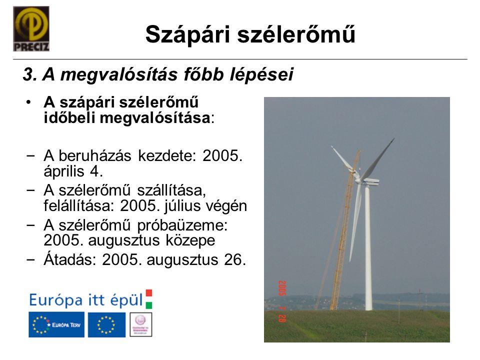 Szápári szélerőmű •A szápári szélerőmű időbeli megvalósítása: – A beruházás kezdete: 2005. április 4. – A szélerőmű szállítása, felállítása: 2005. júl