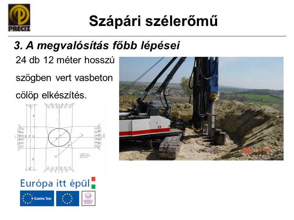 Szápári szélerőmű 24 db 12 méter hosszú szögben vert vasbeton cölöp elkészítés. 3. A megvalósítás főbb lépései