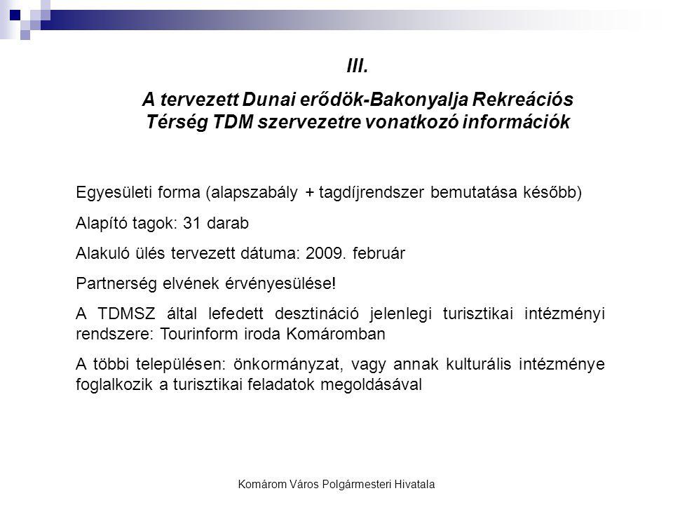 Komárom Város Polgármesteri Hivatala III. A tervezett Dunai erődök-Bakonyalja Rekreációs Térség TDM szervezetre vonatkozó információk Egyesületi forma