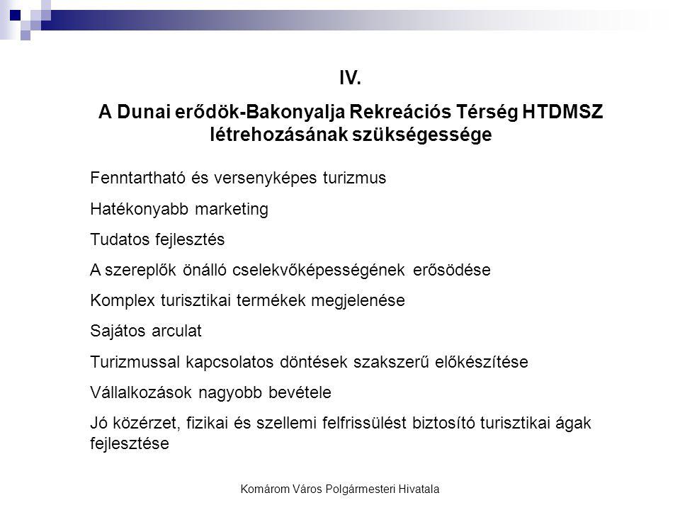 Komárom Város Polgármesteri Hivatala IV. A Dunai erődök-Bakonyalja Rekreációs Térség HTDMSZ létrehozásának szükségessége Fenntartható és versenyképes