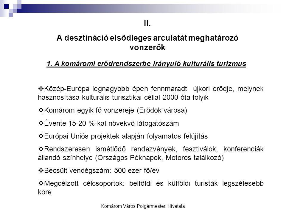 II. A desztináció elsődleges arculatát meghatározó vonzerők 1. A komáromi erődrendszerbe irányuló kulturális turizmus  Közép-Európa legnagyobb épen f