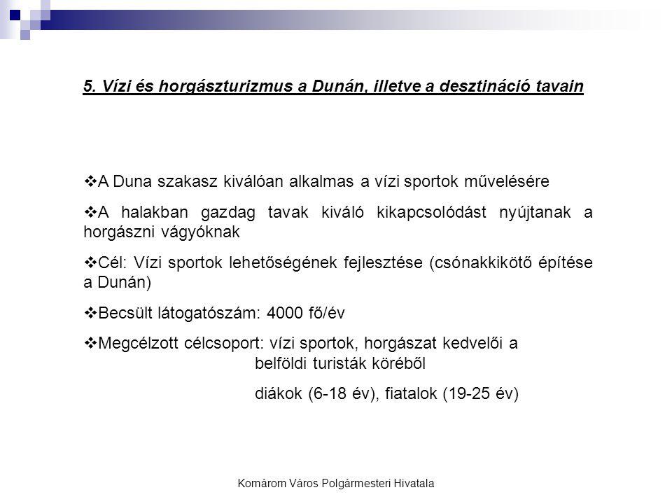 Komárom Város Polgármesteri Hivatala 5. Vízi és horgászturizmus a Dunán, illetve a desztináció tavain  A Duna szakasz kiválóan alkalmas a vízi sporto