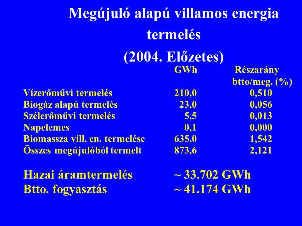 Megújuló alapú villamos energia termelés (2004. Előzetes) GWhRészarány btto/meg. (%) Vízerőművi termelés210,0 0,510 Biogáz alapú termelés 23,0 0,056 S