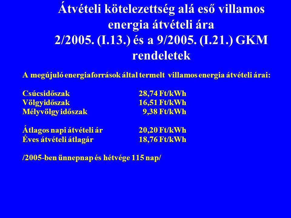 Átvételi kötelezettség alá eső villamos energia átvételi ára 2/2005. (I.13.) és a 9/2005. (I.21.) GKM rendeletek A megújuló energiaforrások által term