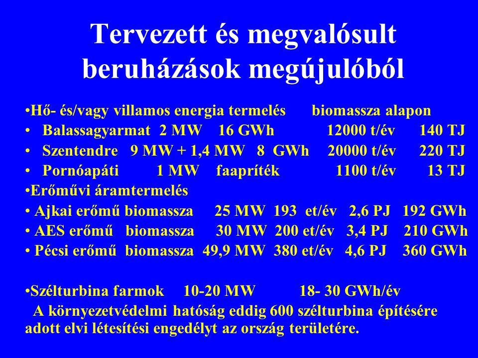 Tervezett és megvalósult beruházások megújulóból •Hő- és/vagy villamos energia termelés biomassza alapon • Balassagyarmat 2 MW 16 GWh 12000 t/év 140 T