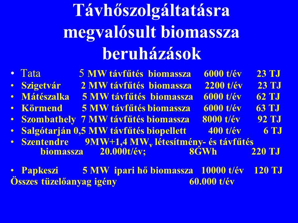 Távhőszolgáltatásra megvalósult biomassza beruházások • Tata 5 MW távfűtés biomassza 6000 t/év 23 TJ • Szigetvár 2 MW távfűtés biomassza 2200 t/év 23