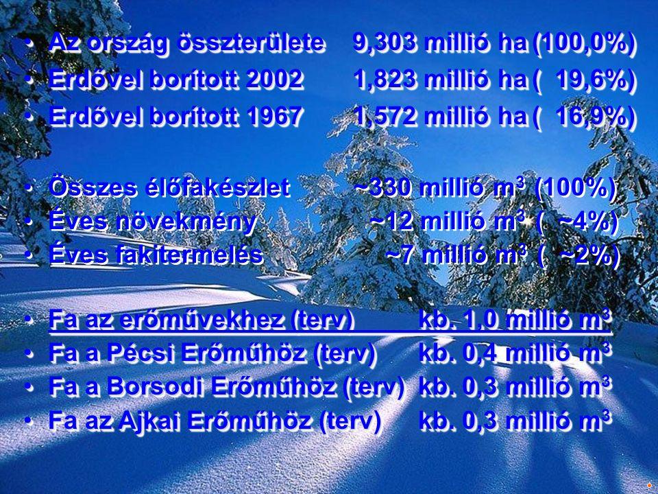 •Az ország összterülete9,303 millió ha (100,0%) •Erdővel borított 20021,823 millió ha ( 19,6%) •Erdővel borított 19671,572 millió ha ( 16,9%) •Az orsz