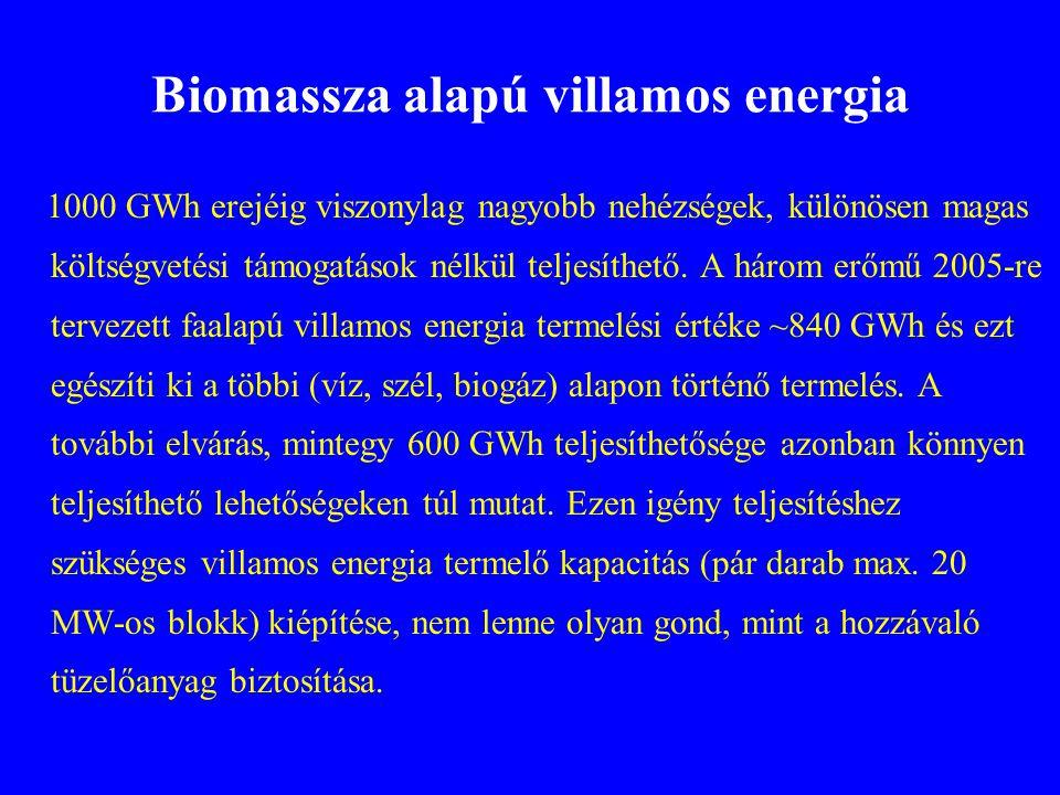 Biomassza alapú villamos energia 1000 GWh erejéig viszonylag nagyobb nehézségek, különösen magas költségvetési támogatások nélkül teljesíthető. A háro
