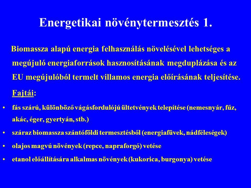 Energetikai növénytermesztés 1. Biomassza alapú energia felhasználás növelésével lehetséges a megújuló energiaforrások hasznosításának megduplázása és