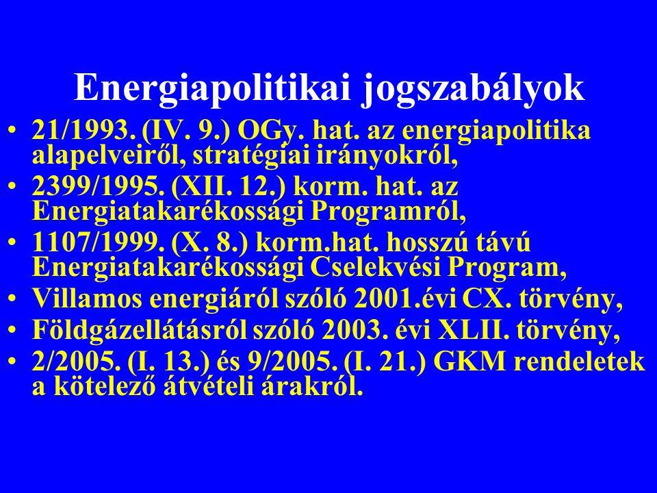 Energiapolitikai jogszabályok •21/1993. (IV. 9.) OGy. hat. az energiapolitika alapelveiről, stratégiai irányokról, •2399/1995. (XII. 12.) korm. hat. a