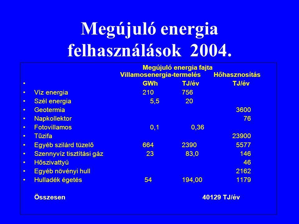 Megújuló energia felhasználások 2004. Megújuló energia fajta Villamosenergia-termelés Hőhasznosítás •GWh TJ/évTJ/év •Víz energia210 756 •Szél energia