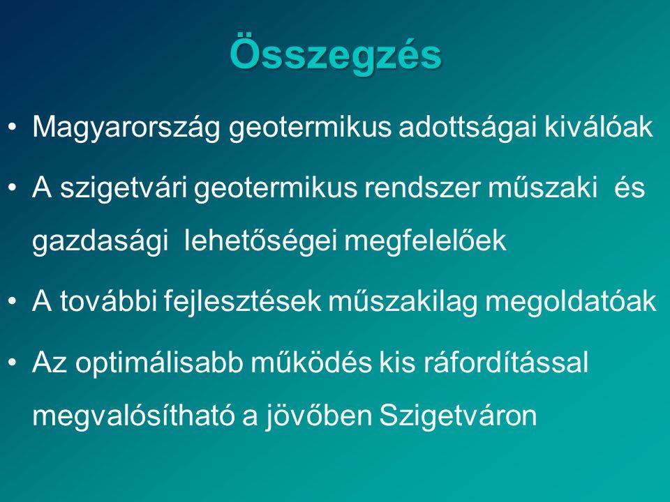 Összegzés •Magyarország geotermikus adottságai kiválóak •A szigetvári geotermikus rendszer műszaki és gazdasági lehetőségei megfelelőek •A további fejlesztések műszakilag megoldatóak •Az optimálisabb működés kis ráfordítással megvalósítható a jövőben Szigetváron