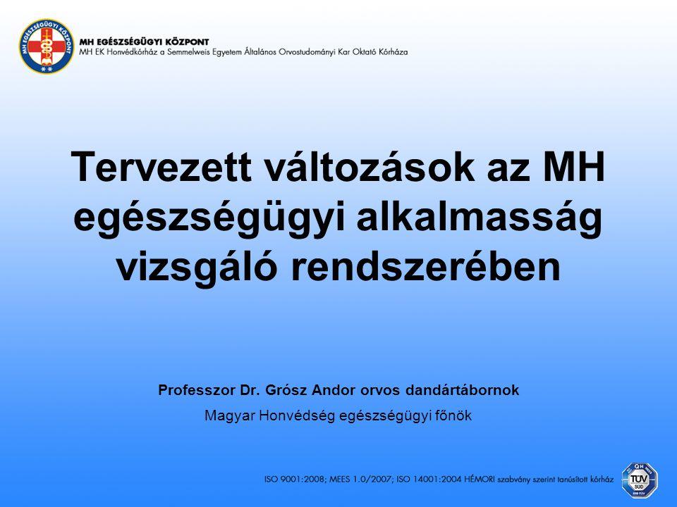 Tervezett változások az MH egészségügyi alkalmasság vizsgáló rendszerében Professzor Dr. Grósz Andor orvos dandártábornok Magyar Honvédség egészségügy