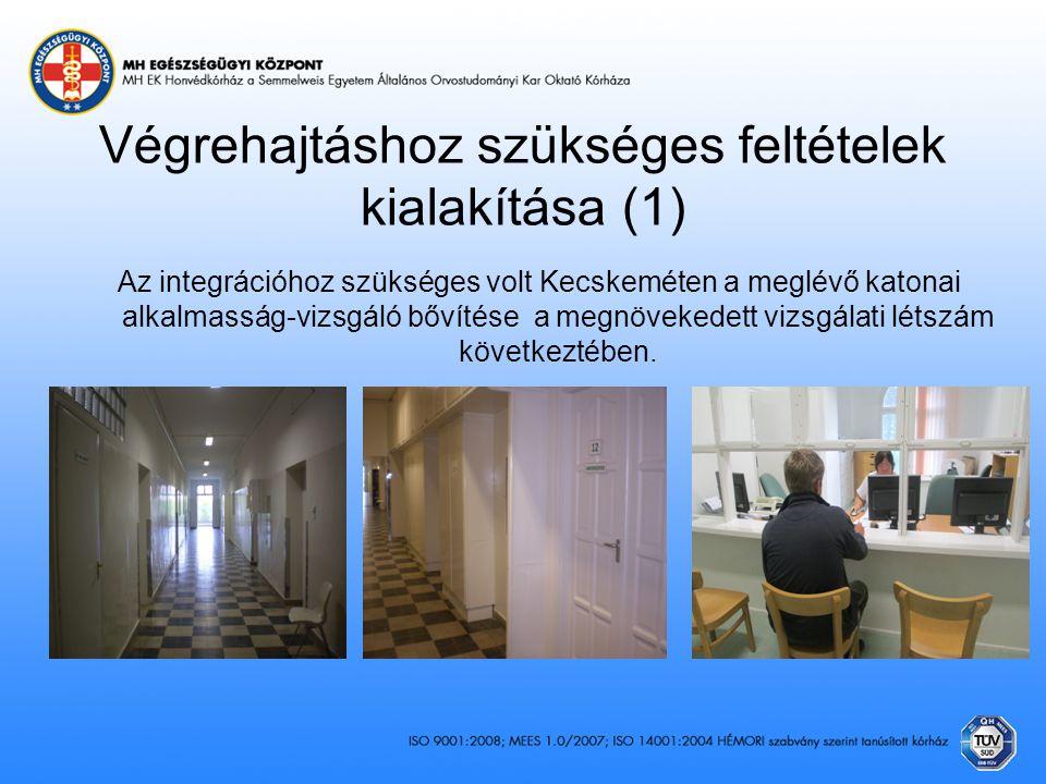 Végrehajtáshoz szükséges feltételek kialakítása (1) Az integrációhoz szükséges volt Kecskeméten a meglévő katonai alkalmasság-vizsgáló bővítése a megn