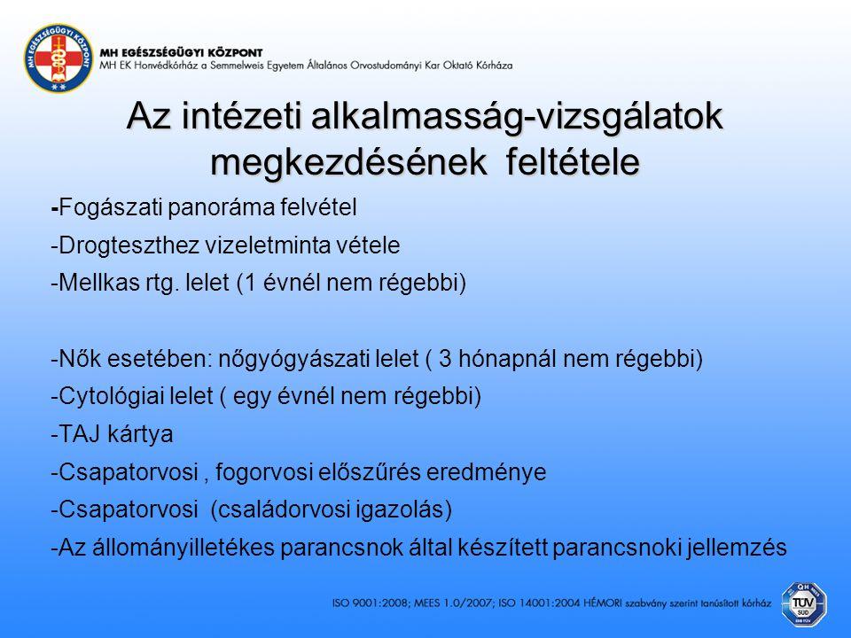 Az intézeti alkalmasság-vizsgálatok megkezdésének feltétele -Fogászati panoráma felvétel -Drogteszthez vizeletminta vétele -Mellkas rtg. lelet (1 évné