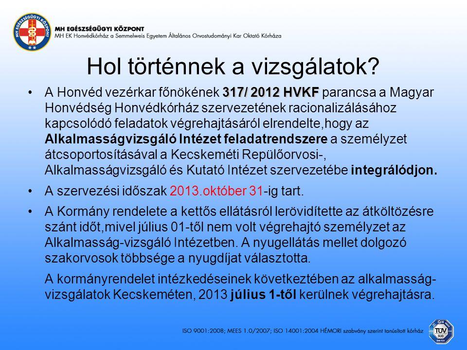 Hol történnek a vizsgálatok? 317/ 2012 HVKF •A Honvéd vezérkar főnökének 317/ 2012 HVKF parancsa a Magyar Honvédség Honvédkórház szervezetének raciona