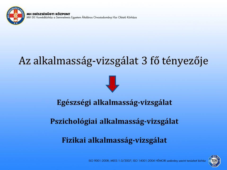 Az alkalmasság-vizsgálat 3 fő tényezője Egészségi alkalmasság-vizsgálat Pszichológiai alkalmasság-vizsgálat Fizikai alkalmasság-vizsgálat