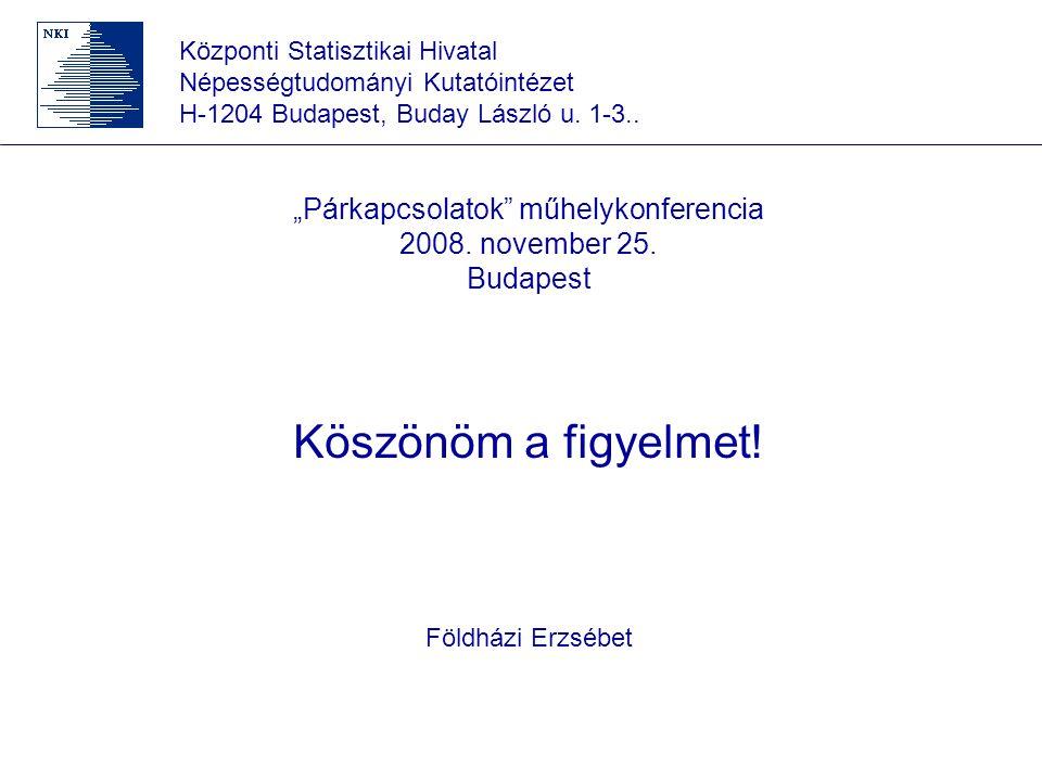 """Központi Statisztikai Hivatal Népességtudományi Kutatóintézet H-1204 Budapest, Buday László u. 1-3.. """"Párkapcsolatok"""" műhelykonferencia 2008. november"""