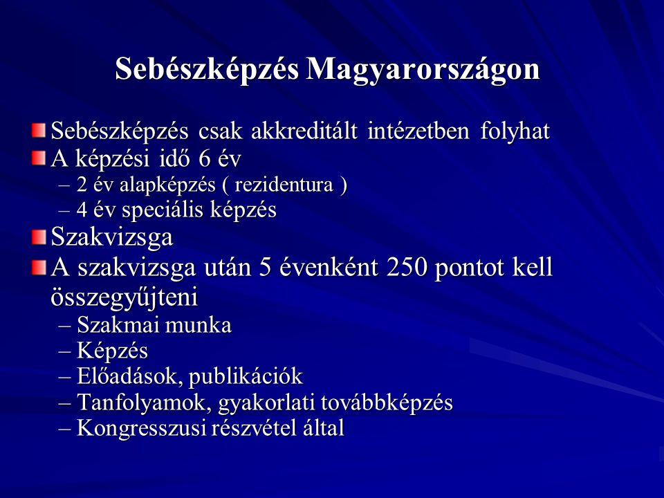 Sebészképzés Magyarországon Sebészképzés csak akkreditált intézetben folyhat A képzési idő 6 év –2 év alapképzés ( rezidentura ) –4 év speciális képzé
