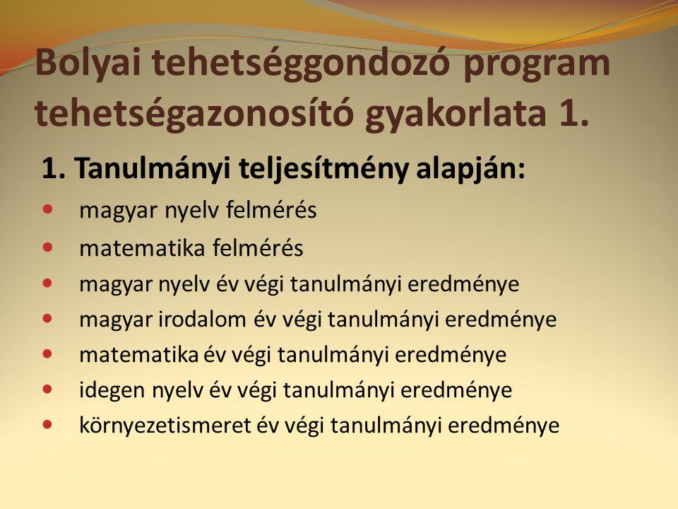 Bolyai tehetséggondozó program tehetségazonosító gyakorlata 1.