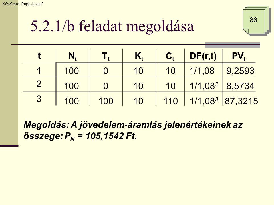 5.2.1/b feladat megoldása 86 tNtNt TtTt KtKt CtCt DF(r,t)PV t 1 2 3 100 0 0 10 110 1/1,08 1/1,08 2 1/1,08 3 9,2593 8,5734 87,3215 Megoldás: A jövedele