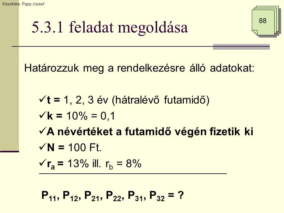 5.3.1 feladat megoldása 88 Határozzuk meg a rendelkezésre álló adatokat:  t = 1, 2, 3 év (hátralévő futamidő)  k = 10% = 0,1  A névértéket a futami